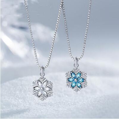 女友礼物:925银镶钻雪花项链