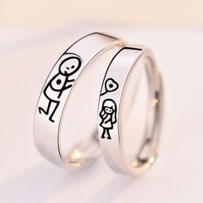 女友礼物:卡通小清新情侣戒指