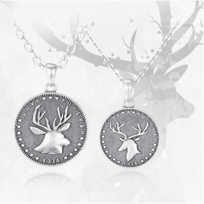 女朋友的礼物:一鹿有你硬币情侣项链