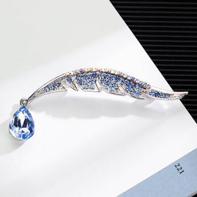 女朋友的礼物:水晶羽毛女士胸针