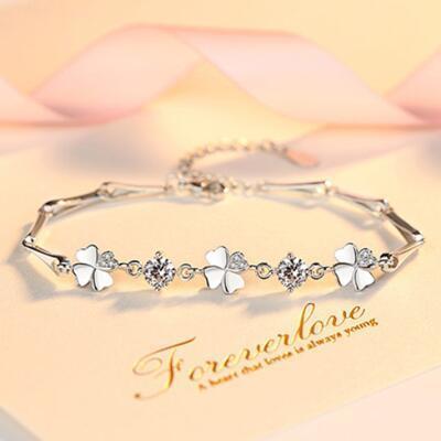 送女朋友的礼物:四叶草之恋纯银手链