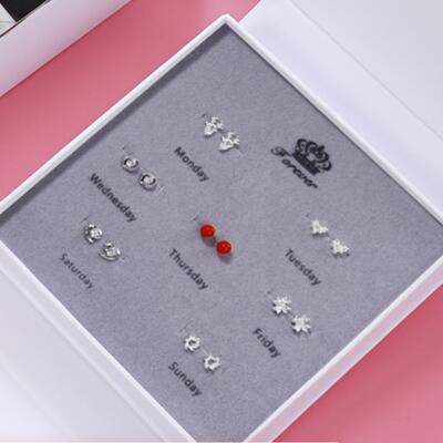 送女朋友的礼物:一周气质耳饰套装