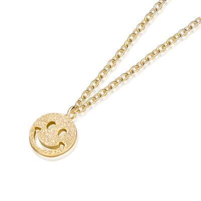 送女朋友的礼物:银镀金笑脸项链