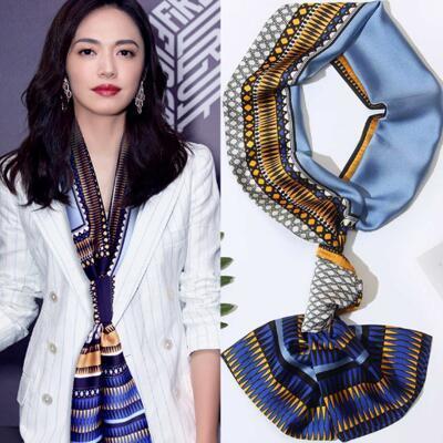 抖音同款韩国复古长条小丝巾