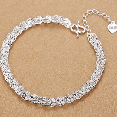 女友礼物:凤尾镂空复古纯银手链