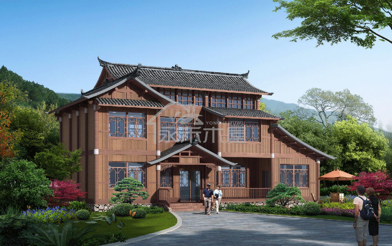 深圳木屋建造公司案例户型透视图
