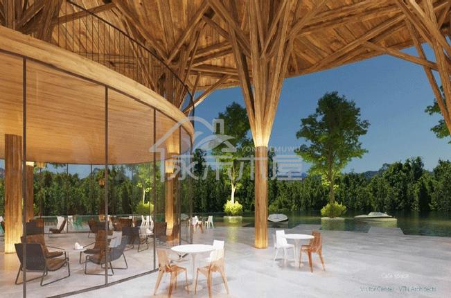 木别墅生产厂家丽江游客服务中心木屋项目大厅外部