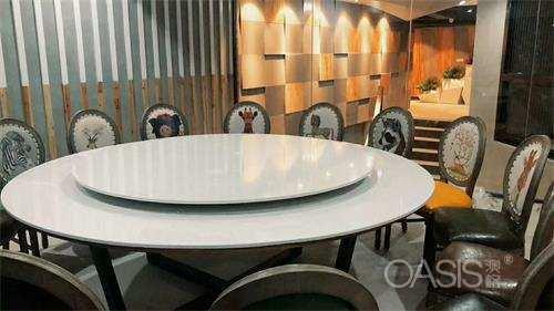 中餐厅大理石转盘餐桌椅