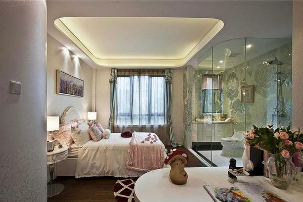 现代简约卧室装修效果图、大气、温馨