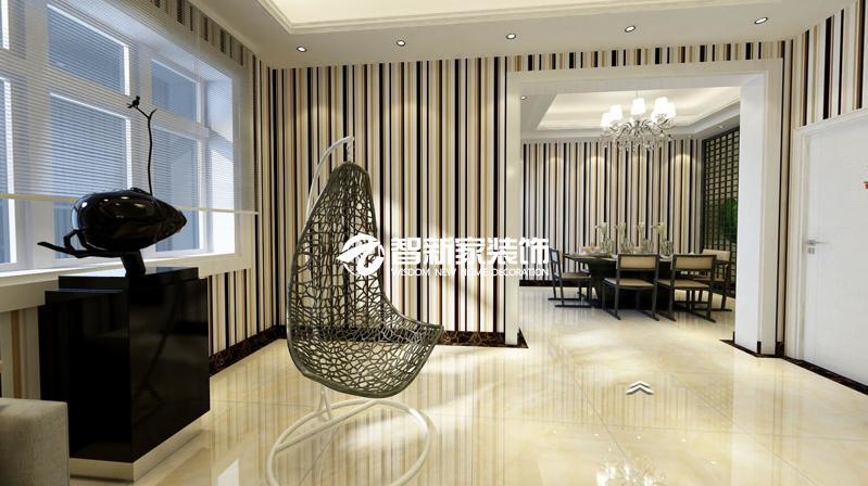 哈尔滨 70米 民生尚都 现代中式风格装修效果图