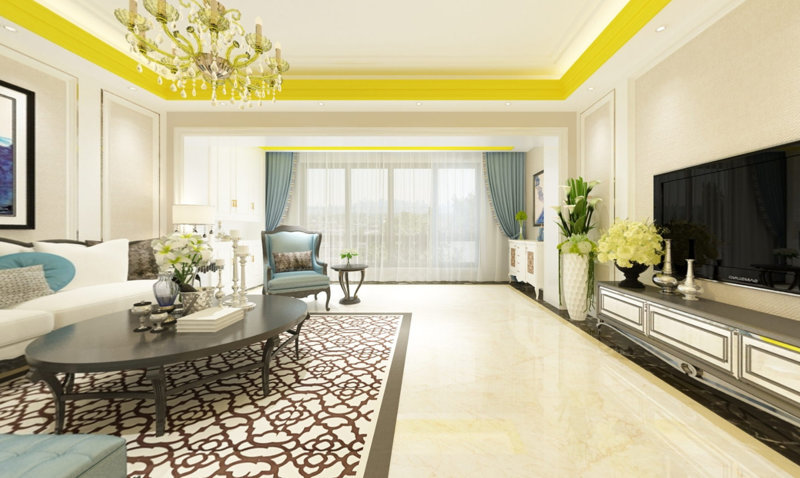 哈尔滨 绿海华庭 100平米 混搭风格装修效果图