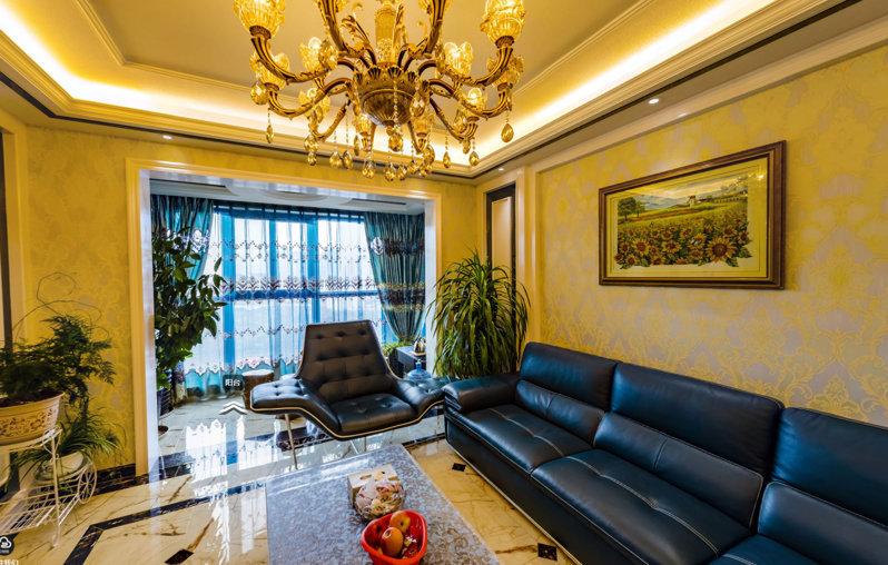 哈尔滨道外区富达蓝山131平欧式风格装修效果实拍