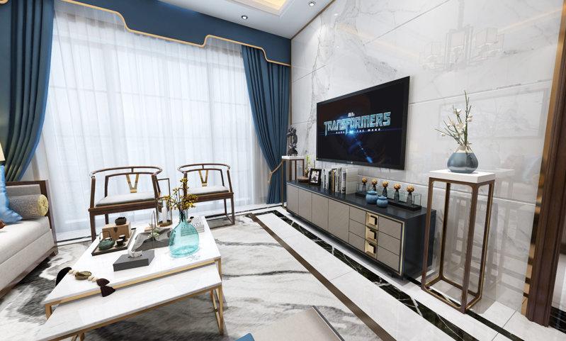 哈尔滨巴黎第五区93米中式风格装修效果图