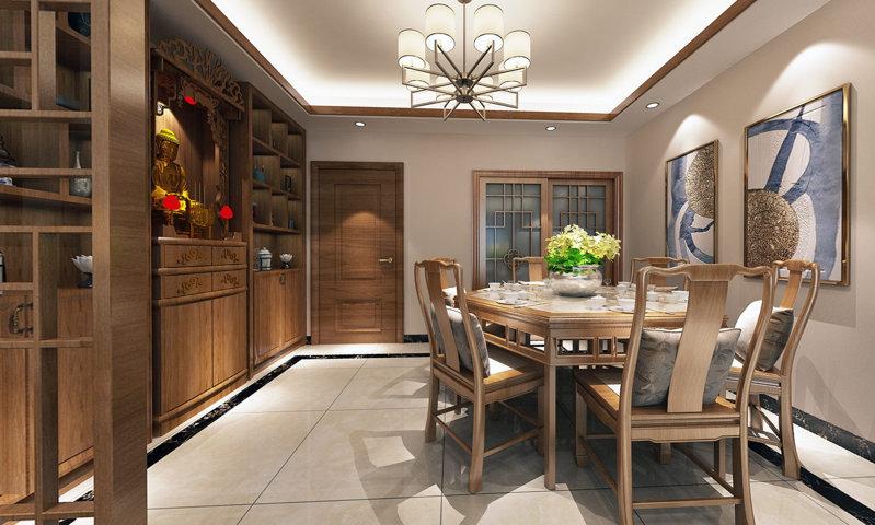 哈尔滨纳帕英郡123平方米中式风格装修设计案例