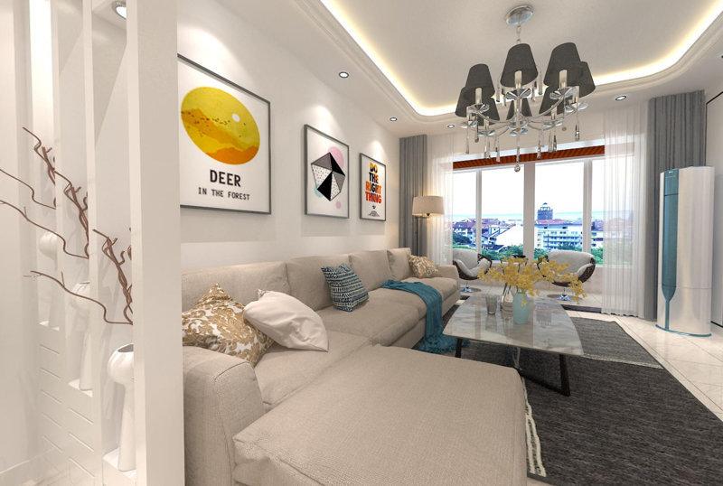 哈尔滨宝宇天邑澜湾156平米3室现代简约风格装修效果图