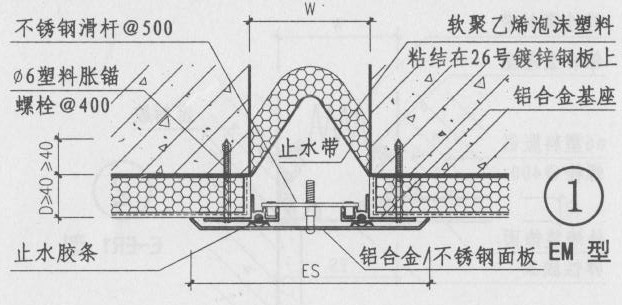 铝合金盖板型外墙变形缝EM图集第19页