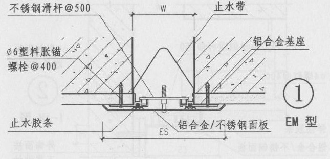 铝合金盖板型外墙变形缝EM图集第18页