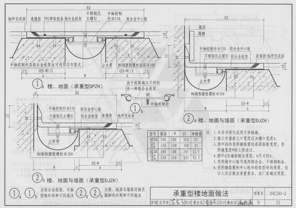 承重型楼地面做法04CJ01-2变形缝图集
