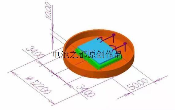 两串7.4V聚合物锂电池3D尺寸标住图