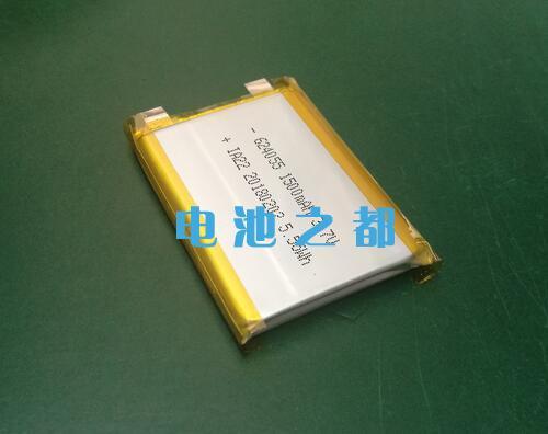 侧面贴有胶布的624055-1500mAh聚合物锂电池