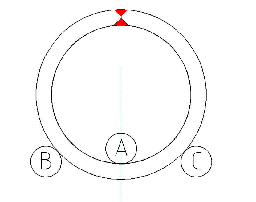 将下辊连接驱动起来,用手摸焊缝两端,是否圆滑,如若没有,A再次压下2-3mm并一直驱动,直至手摸起来圆滑