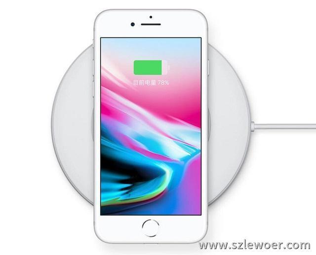 苹果手机iphone8无线充电器充电示意图