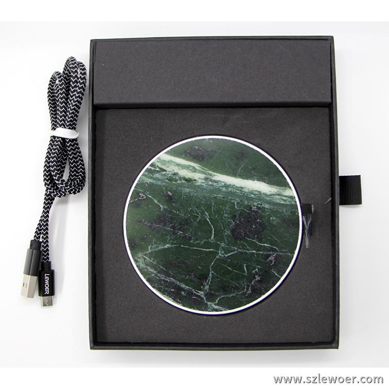利行者LEWOER大理石桌面无线充电器圆形通用款带礼盒包装