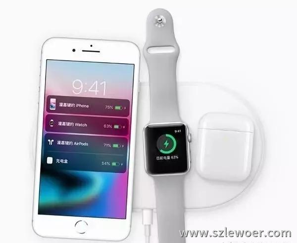 苹果无线充电器airpower正在给苹果手机、手表及耳机充电