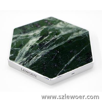 利行者LEWOER大理石无线充电器桌面六角形款式SW1003