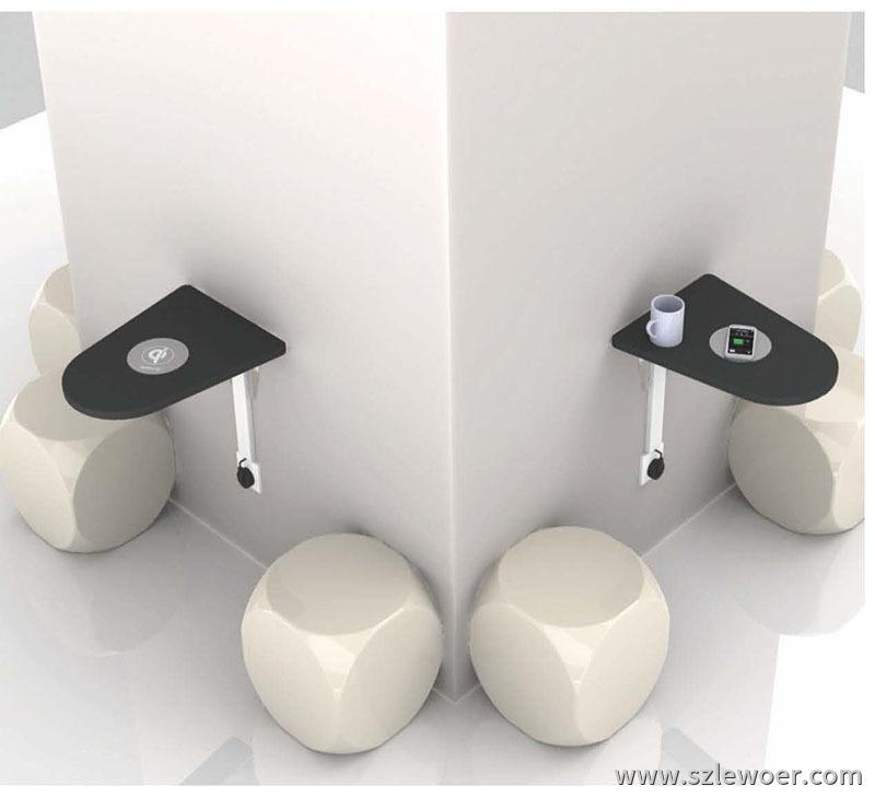 利行者LEWOER咖啡桌面嵌入式手机无线充电器,场景应用示例图