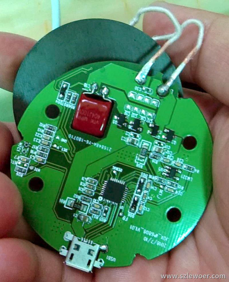 英集芯无线充ic无线功率发射控制器ip6808全集成无线充SoC芯片圆形PCBA样板