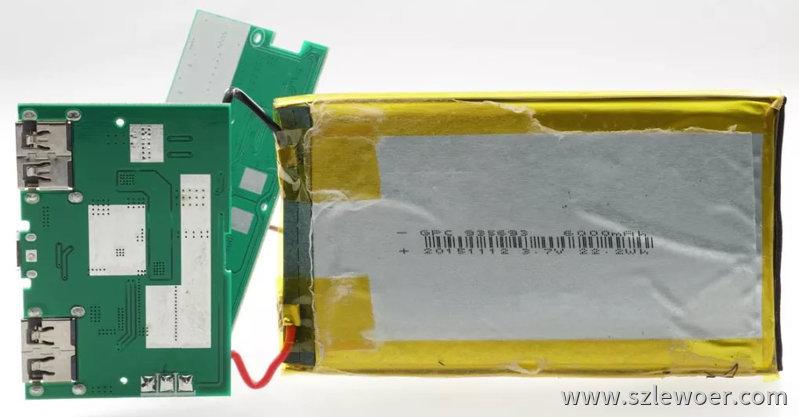 海陆通ARUN无线充电宝拆解分析聚合物电池