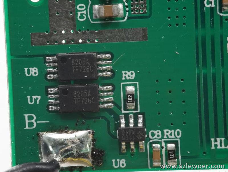 海陆通ARUN无线充电宝采用两颗8205A组成锂电保护
