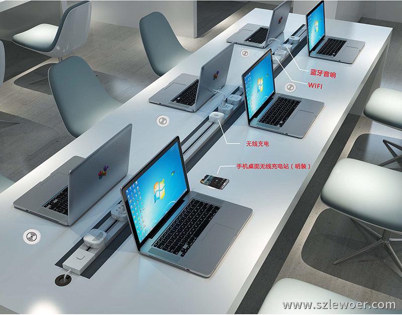 利行者嵌入式智能办公桌用无线充电器解决方案示意图