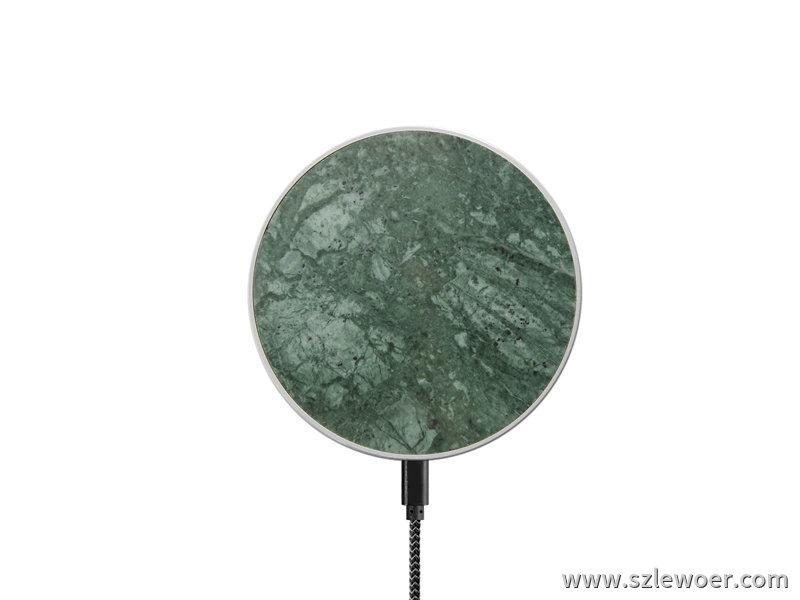 绿色圆形大理石无线充电器LEWOER无线发射器