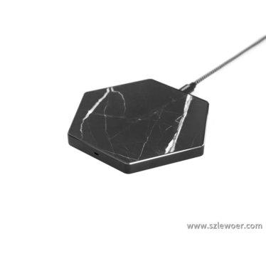 黑色六边形大理石无线充电器兼容5W,7.5W,10W