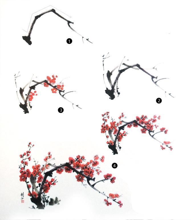 梅花树枝的画法步骤
