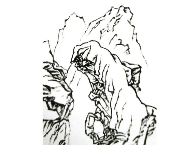 中国山水画技法以斧劈皴为主