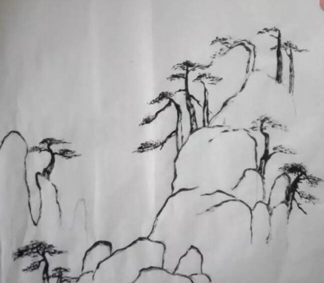 山水画简单画法第三步