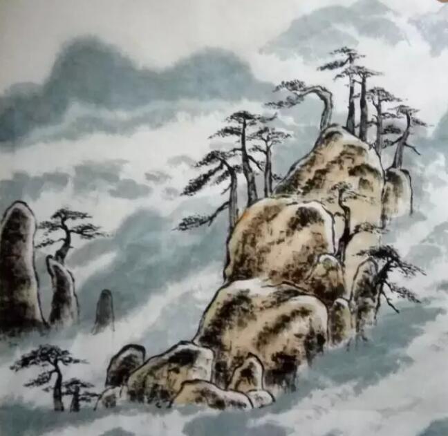 山水画简单画法第七步