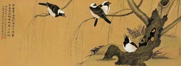 花鸟画技法教学《柳鸦图》