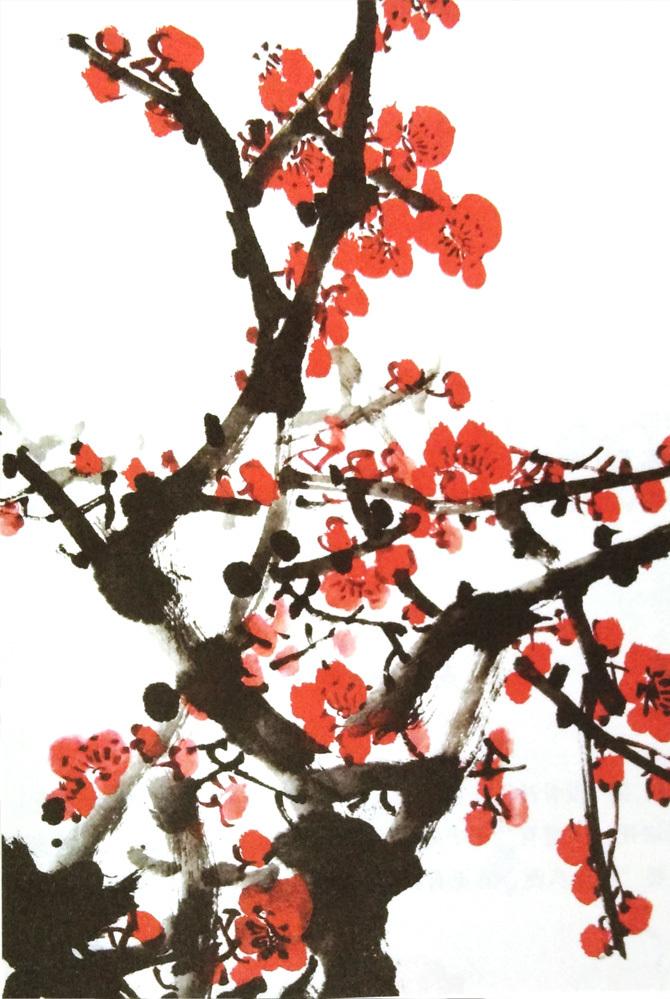 画梅花的颜料所画红梅