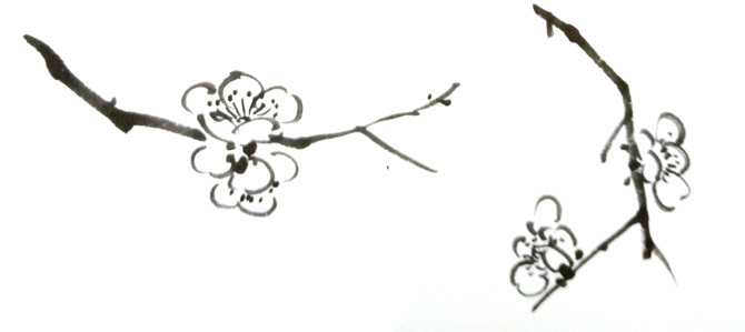 国画梅花特征之横式二花