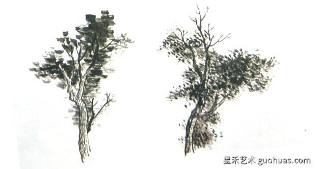 树叶的画法-破笔点