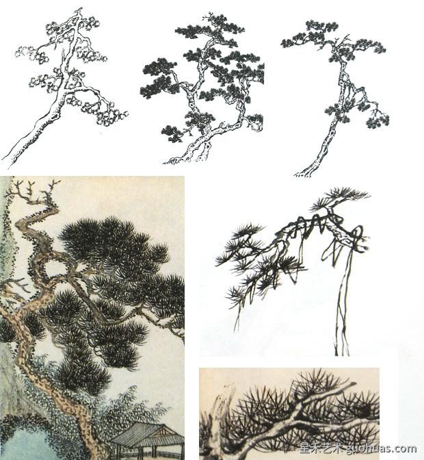 迎客松树画法方法