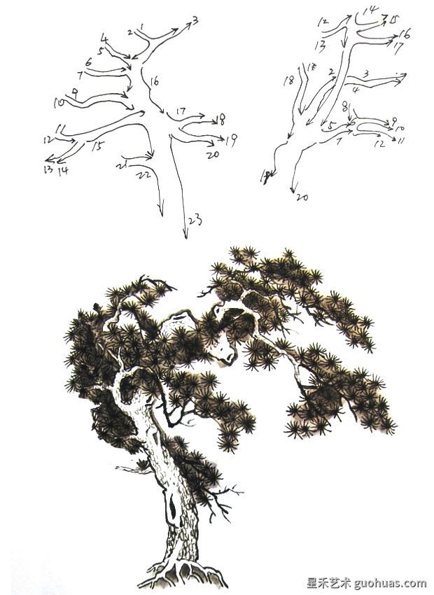 迎客松树画法步骤