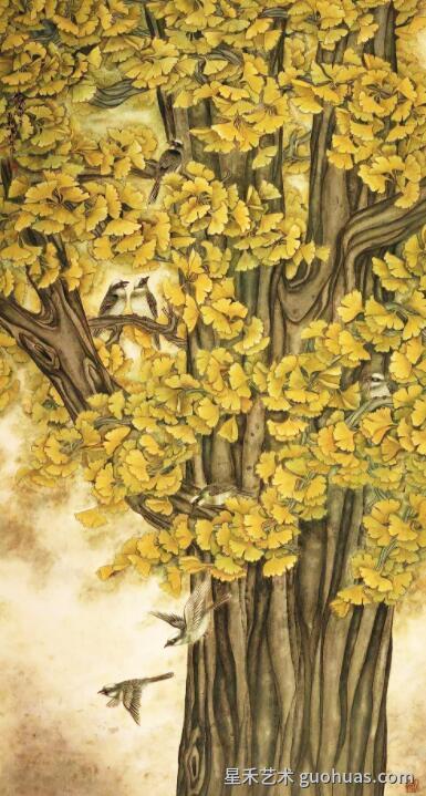 银杏树的画法作品案例4