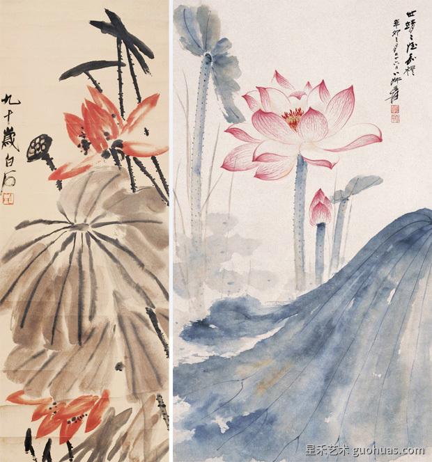 大师的中国画工笔荷花画作品-01