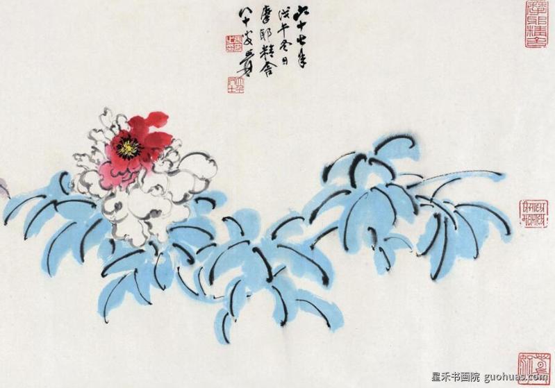 牡丹水墨画花朵的基本画法