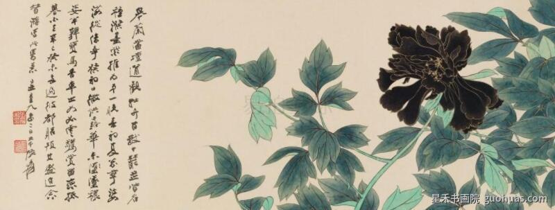 牡丹白描水墨画作品赏析